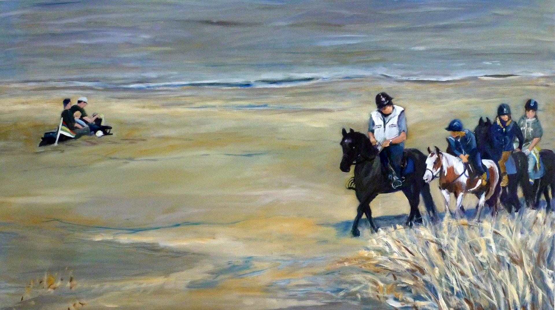 Rina Bekkers_Paarden op het strand_olie op doek_125x70