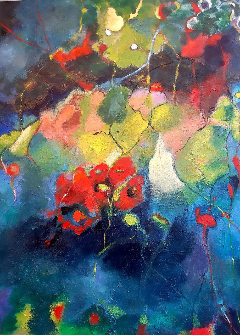 Nellie van Kemenade_Red flowers_olieverf op doek_ 70x90