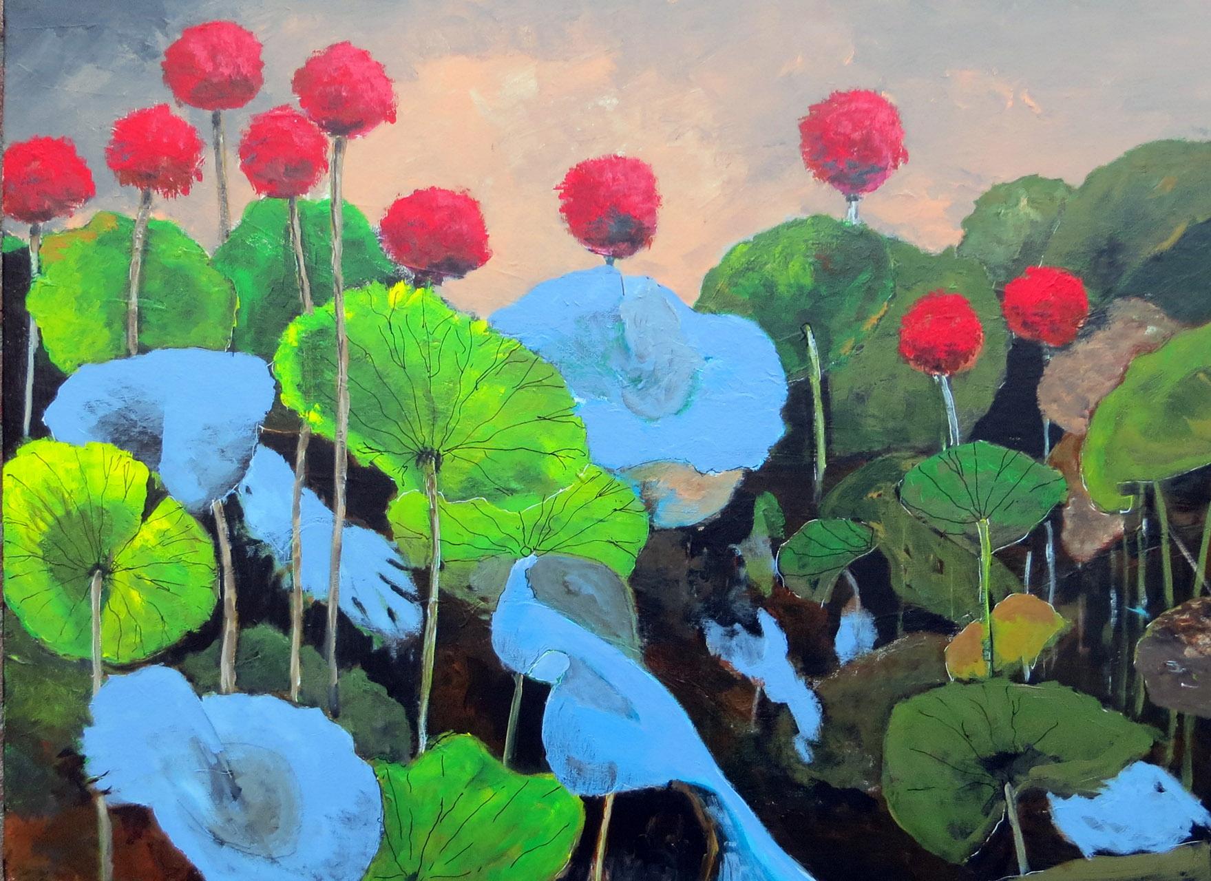 Peter Hoeben_Bladeren en Bloemen 2_Acryl op doek_60x80x4