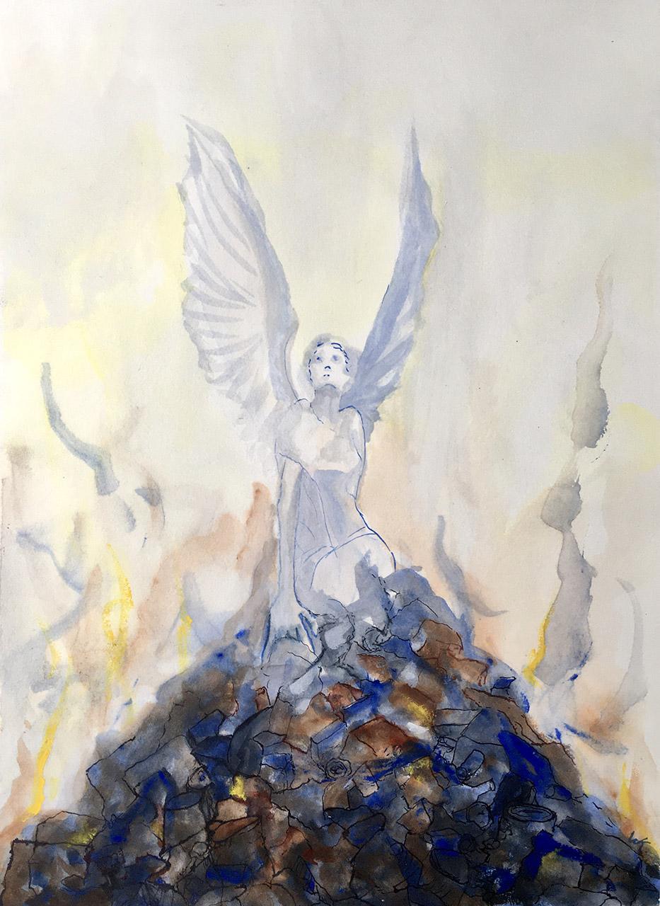 Willie van Schie-Kamps_Resurrection_inkt:aquarel op papier_60x40